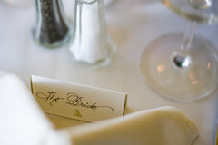 Bride place card at a wedding reception Stock Photo