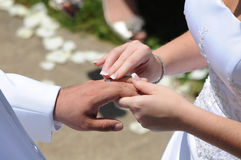 Exchanging wedding rings Royalty Free Stock Image
