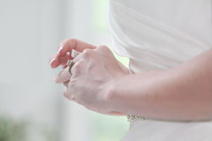Bride playing with Engagement Ring Royalty Free Stock Photo