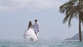 Bride is playing with her long white wedding dress. Young beautiful man and woman hug each other at the beach. Happy. Loving couple at the honeymoon looking stock video