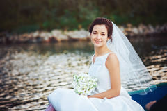 Bride in the Pleasure Boat Stock Photography