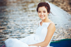 Bride in the Pleasure Boat Stock Photo