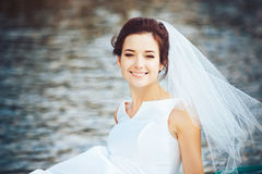Bride in the Pleasure Boat Royalty Free Stock Images
