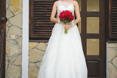 Bride on Porch Stock Images