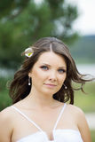 Bride portrait. Outside portrait of the bride royalty free stock photography