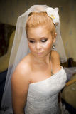 Bride portrait. Young caucasian bride getting ready for wedding ceremony Royalty Free Stock Photos