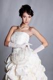 Bride portrait. Brunette bride portrait in studio royalty free stock images