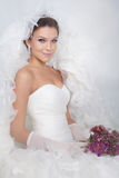 Bride portrait. Brunet bride portrait in studio stock images