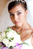 Bride portrait. Portrait of young beautiful bride with flowers royalty free stock photography