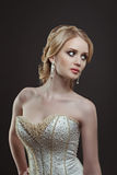 Bride. Portrait of a beautiful woman in a wedding dress in the image of the bride Royalty Free Stock Photo