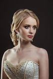 Bride. Portrait of a beautiful woman in a wedding dress in the image of the bride Stock Image