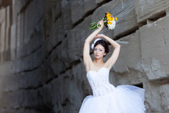 Bride portrait with bouquet in hand stock photos