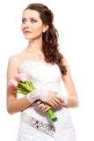Bride portrait with bouquet of tulips Royalty Free Stock Images