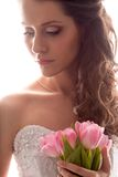 Bride portrait with bouquet of tulips Stock Images