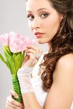 Bride portrait with bouquet of tulips Royalty Free Stock Photos