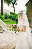 Bride portrait with bouquet and veil Stock Photography