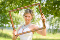 Bride portrait frame in nature Royalty Free Stock Image