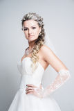 Bride portrait. With hairstyling and makeup studio shot Royalty Free Stock Photo