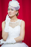 Bride portrait. With hairstyling and makeup studio shot Royalty Free Stock Photos