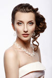 Bride. Portrait Of A Beautiful Woman In A Pink Wedding Dress. Royalty Free Stock Photo