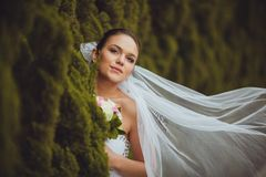 Bride portrait over green trees outdoor Royalty Free Stock Image