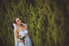 Bride portrait over green trees outdoor Royalty Free Stock Images