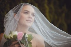 Bride portrait over green trees outdoor Stock Photo