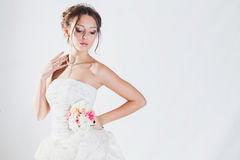 Bride portrait in studio Royalty Free Stock Image