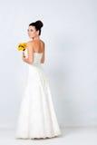 Bride portrait in studio. Beautiful young brunette bride portrait in studio Royalty Free Stock Photo