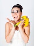 Bride portrait in studio. Beautiful young brunette bride portrait in studio Royalty Free Stock Photos