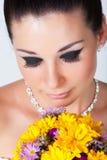 Bride portrait in studio. Beautiful young brunette bride portrait in studio Royalty Free Stock Image