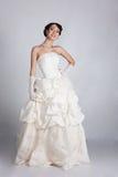 Bride portrait in studio. Beautiful young bride portrait in weddeing dress Royalty Free Stock Photos