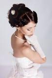 Bride portrait in studio. Beautiful young bride portrait in weddeing dress Stock Photography
