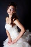 Bride portrait in studio. On black background Stock Images
