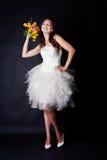 Bride portrait in studio. On black background Royalty Free Stock Image