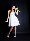 Bride portrait in studio. On black background Stock Photos