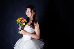 Bride portrait in studio. On black background Royalty Free Stock Photography