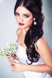 Bride portrait in studio. Young attractive bride with long hair portrait in studio Stock Photos
