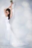 Bride portrait in studio. Young attractive bride with long hair portrait in studio Stock Images