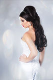 Bride portrait in studio. Young attractive bride with long hair portrait in studio Stock Photography
