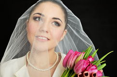 Bride portrait with veil Royalty Free Stock Photography