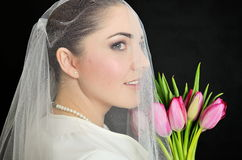 Bride portrait with veil Royalty Free Stock Image