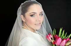 Bride portrait with veil Royalty Free Stock Photos