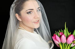 Bride portrait with veil Stock Image