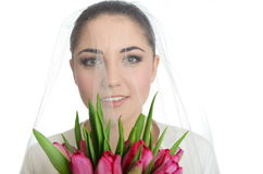 Bride portrait with veil Stock Photos