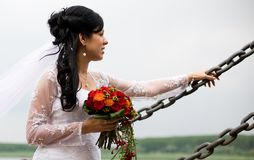 Bride portrait with wedding flowers Royalty Free Stock Photos