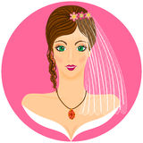Bride portret on the pink background Royalty Free Stock Image