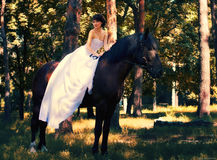 Bride poses on a horse Royalty Free Stock Images