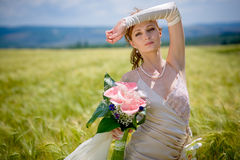 Bride posing in field Royalty Free Stock Photography