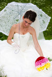 Bride posing in her wedding day Royalty Free Stock Photo
